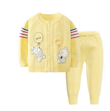 2016 Girl Boy Knitting Winter Sweater Kid Knit Jacket Long Sleeve Baby Clothes 2 pieces (Top + Pants