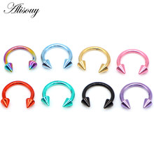 Alisouy 1pc Stainless Steel Horseshoe Spike Nose Septum Rings Eyebrow Tragus Ear Rings Body Piercing Nariz Jewelry Piercing(China)