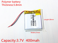 582728 3.7V 400mAh Rechargeable li-Polymer Li-ion Battery For Q50 G700S K92 G36 Y3 Children's smart watches mp3 582828 602828