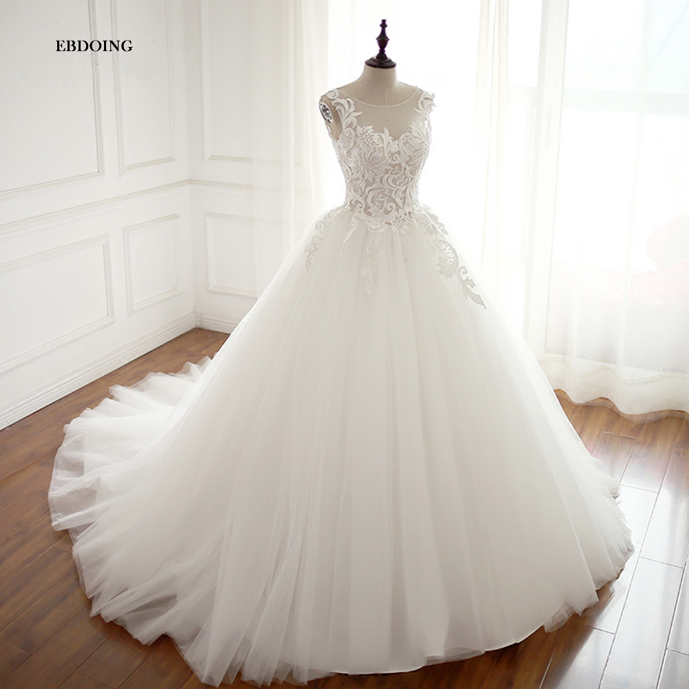Real Photo Wedding Dress Ball Gown Boat Neck Backless Court Train Bride Wedding Plus Size Custom