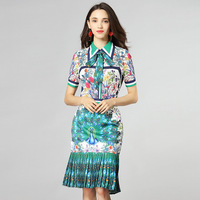 High quality bow lapel Shirt+fishtal Skirts two piece sets New 2018 retro peacock print Skirt Suits Chic slim fit OL sets D106