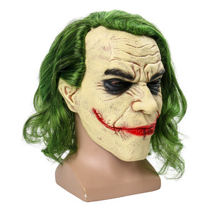 Image 5 - Joker Mask Movie Batman The Dark Knight Cosplay Horror Scary Clown Mask with Green Hair Wig Halloween Latex Mask Party Costume