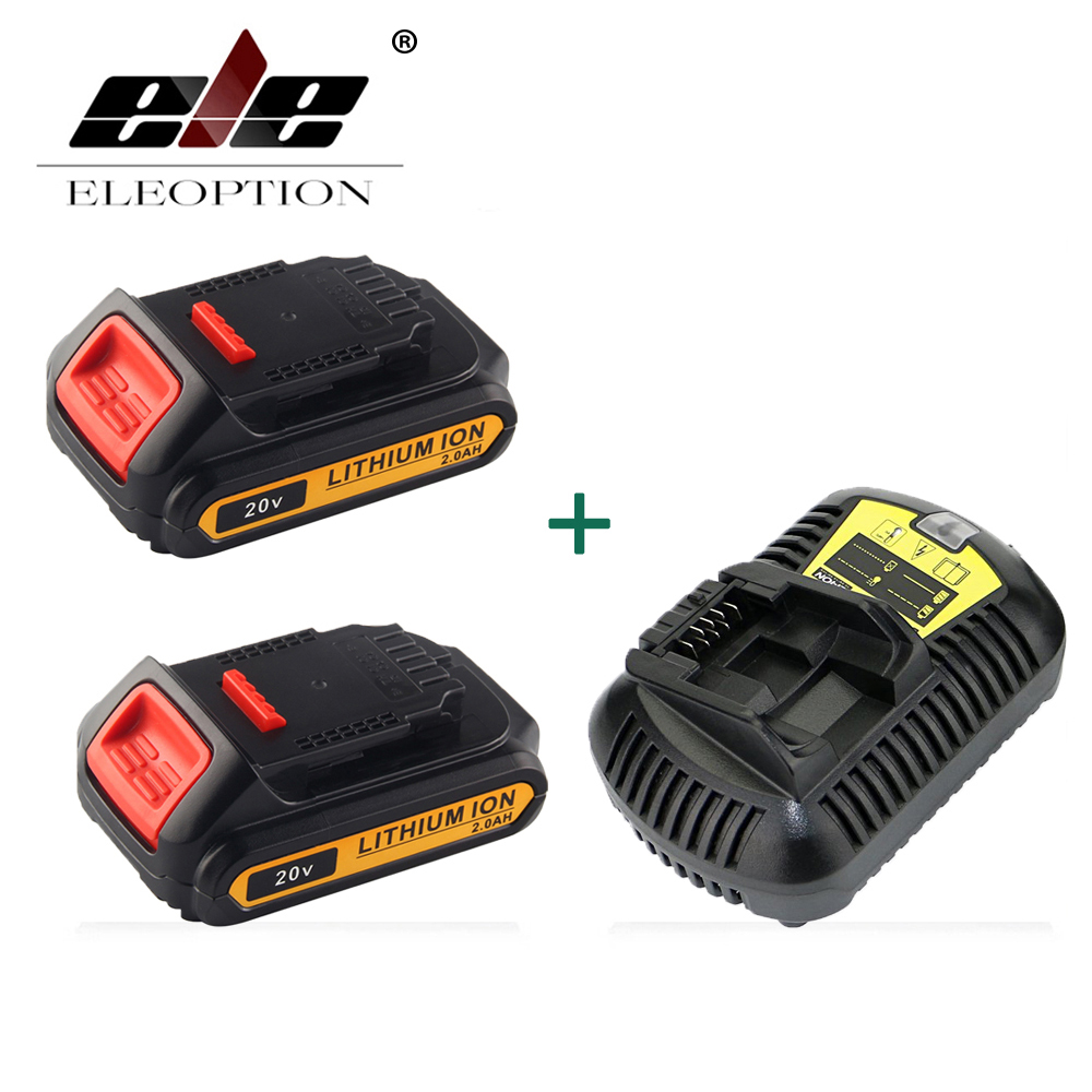ELEOPTION 2PCS 20V 2000mAh Li-ion Rechargeable Battery For DEWALT DCB203 DCB181 DCB180 DCB200 DCB201 DCB201-2 with 1x Charger eleoption 2pcs 18v 3000mah li ion power tools battery for hitachi drill bcl1815 bcl1830 ebm1830 327730