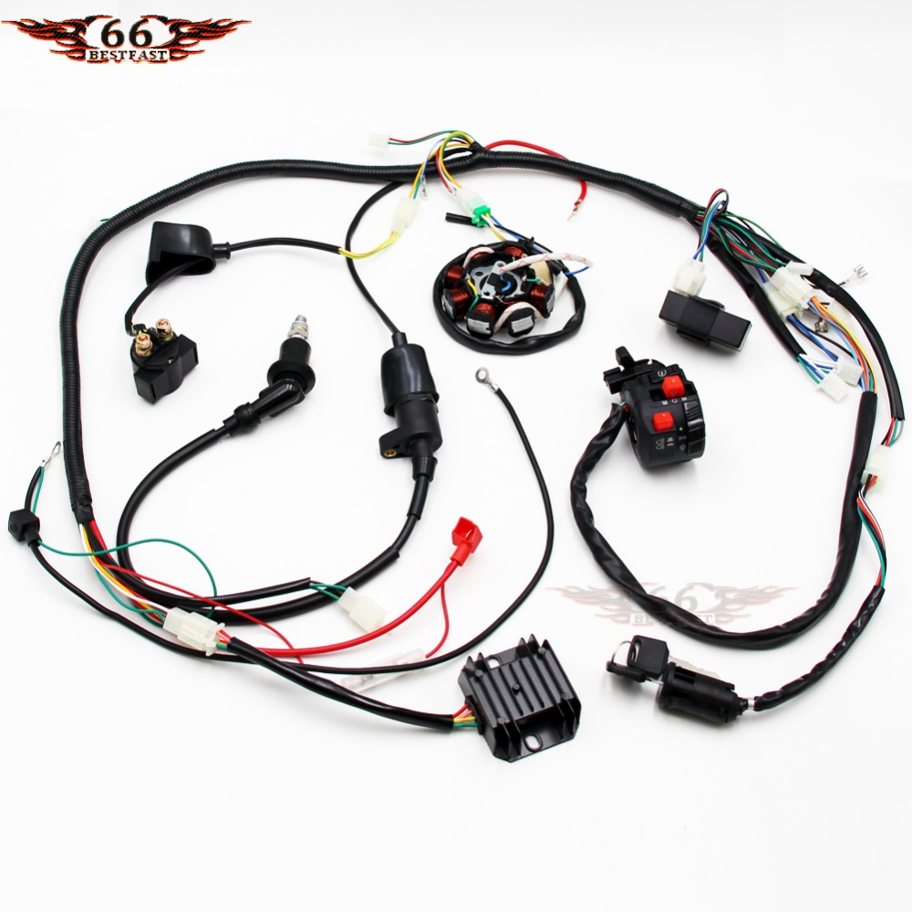 Buggy Wiring Harness Loom Gy6 Cdi Electric Start Stator 8 Coil C7hsa Go Kart Engine 125cc 150cc Quad Atv Spark