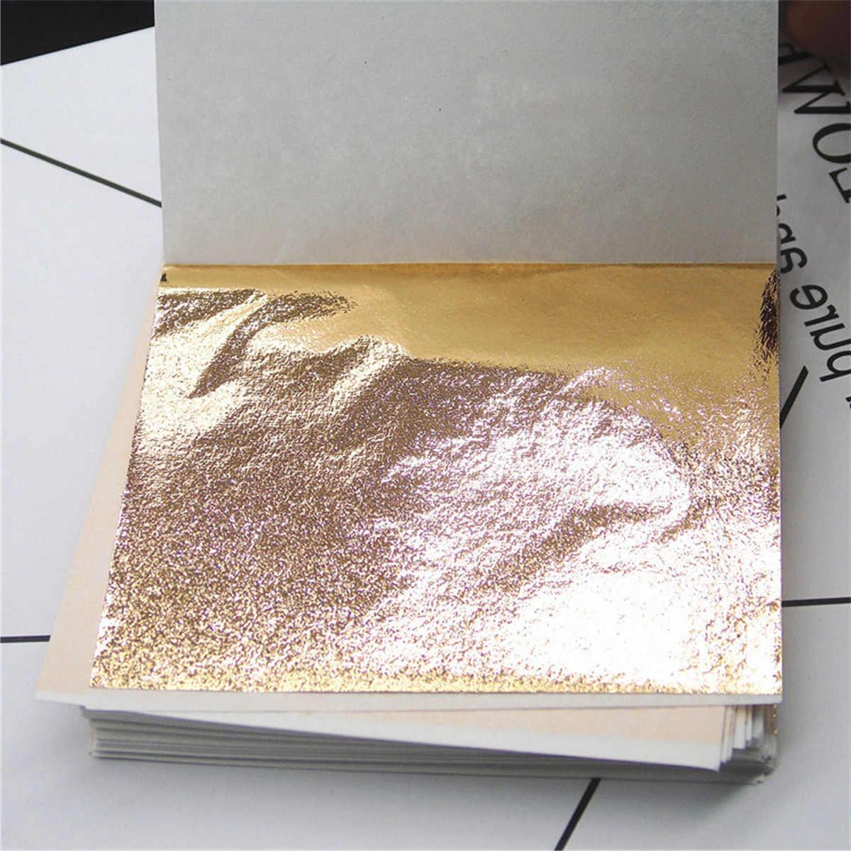 Nail Art สติกเกอร์ฟอยล์โอนกระดาษ DIY 100 แผ่นเทียมทองสำหรับ Slimes Gilding Crafting กรอบตกแต่งอุปกรณ์เสริม