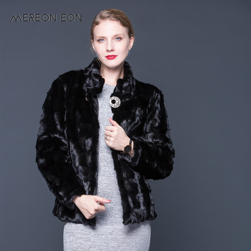 moda de chaqueta abrigo visón piel Collar de mujeres Natural de Las qABwOHa