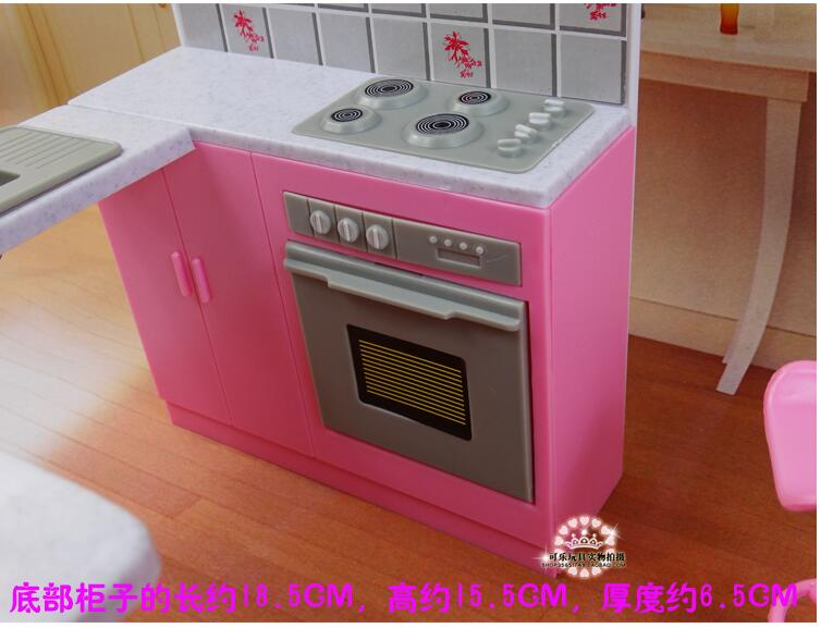 Image 4 - Newest For Barbie Furniture Miniature Combo Kitchen play set Doll dream House diy toytoy ringkitchen ledkitchen sinks taps direct -