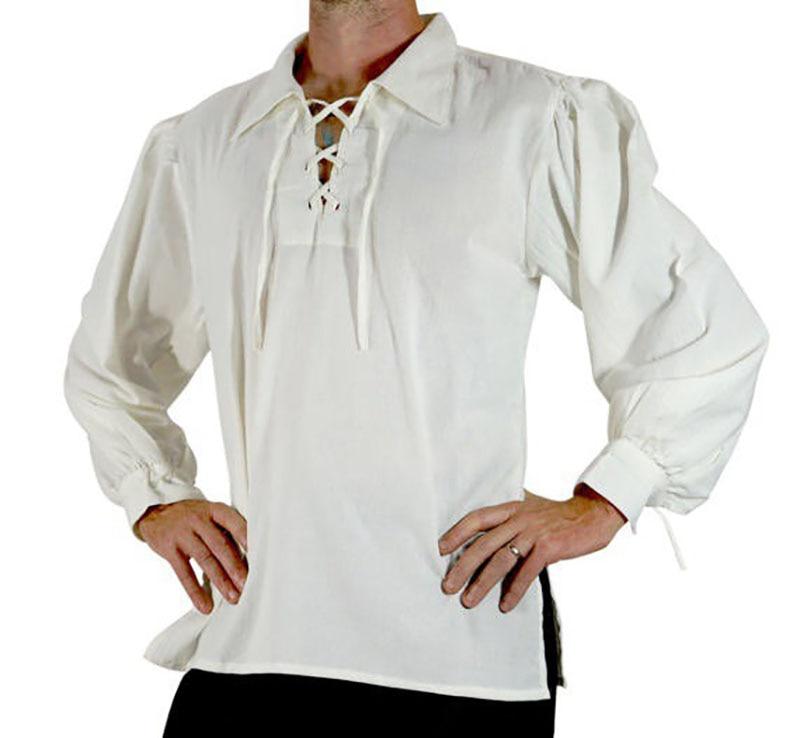 Men Medieval & Renaissance Viking Pirate Costume Top Tunic Tudor Lacing Up Stand Collar Bandage Black White Highlander Shirt