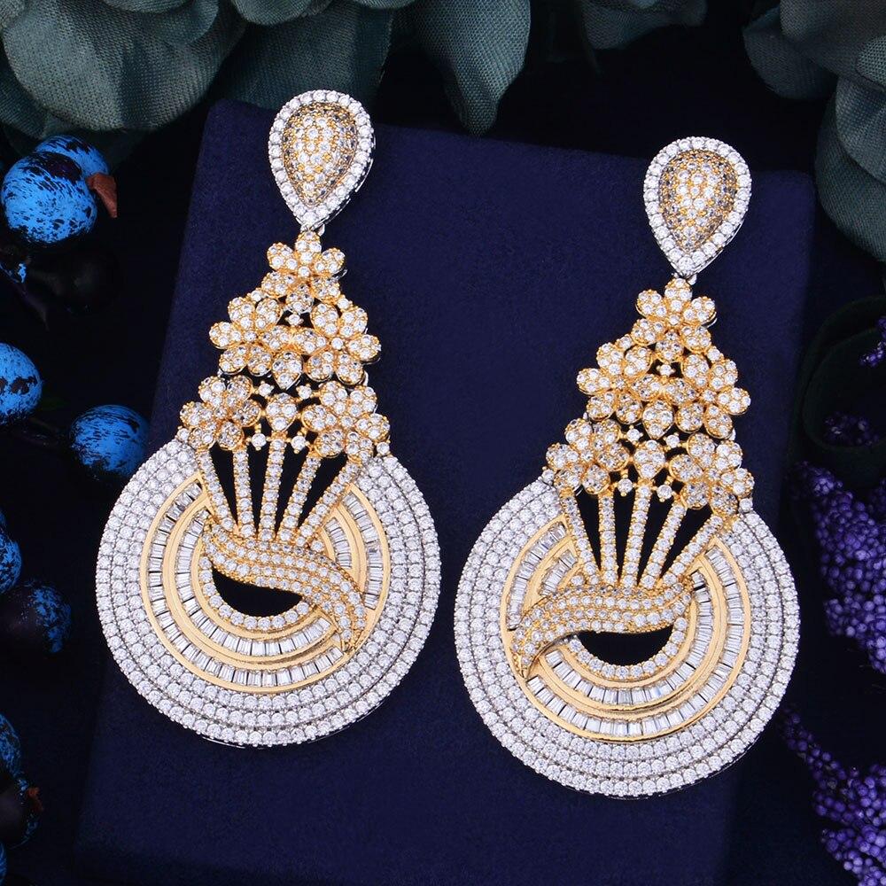 GODKI 75mm Luxury Trendy Flower Gold Silver 2 Tone MixedZirconium Naija Wedding Party Earring Fashion Jewelry
