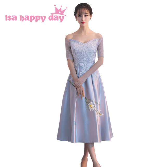 grey tea length satin sleeved women party korea dress naturally sweet homecoming dresses new fashion 2020 summer H4282