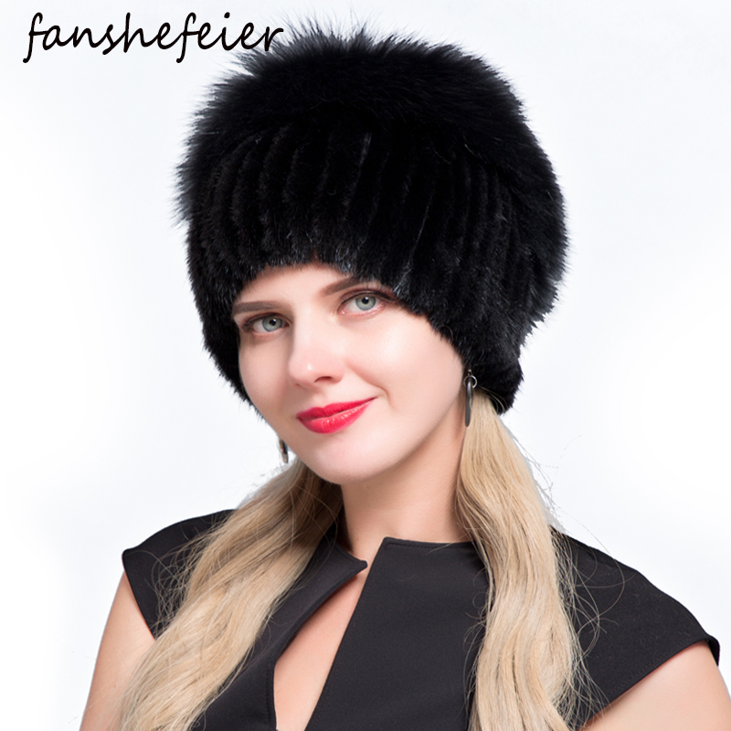 Fanshe New Female Patchwork Fox Fur Mix Color Internal Knitting Beanies Warm  Fashion Winter Hats For Women Real Mink Fur Hat