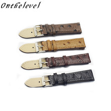 Genuine leather retro ostrich pattern 18-24mm Retro Leather Watchband Brown Yellow/Black/Red Gray Matte straps