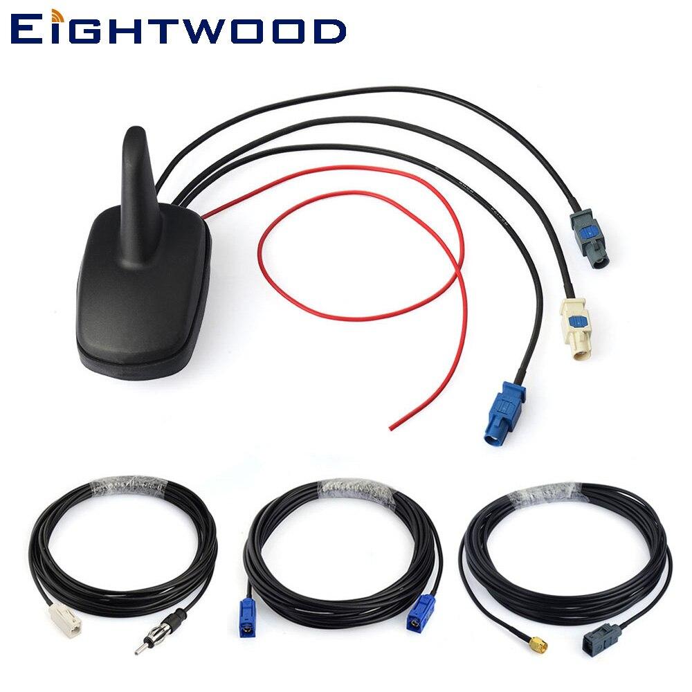 Eightwood Автомобильный цифровой радио DAB + FM gps усиленный антенный потолочный плавник акулы антенна и замена Fakra SMA кабель комплект