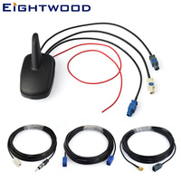 Eightwood Car Digital Radio DAB DAB+FM+GPS Amplified Aerial Roof Mount Shark Fin Antenna And Replacement Fakra SMA Cable kit