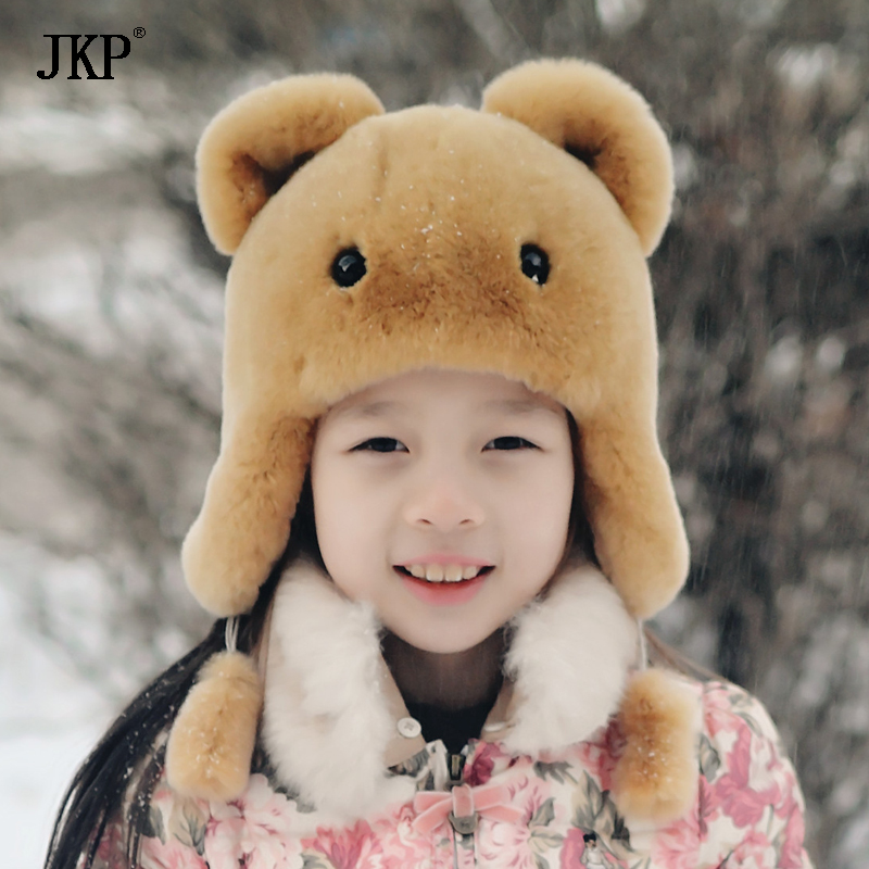 Winter Children Boys Girls Warm Rex Rabbit Fur Hats Kids Real Rabbit Fur Cap Natural baby Fur Hat new autumn winter warm children fur hat women parent child real raccoon hat with two tails mongolia fur hat cute round hat cap