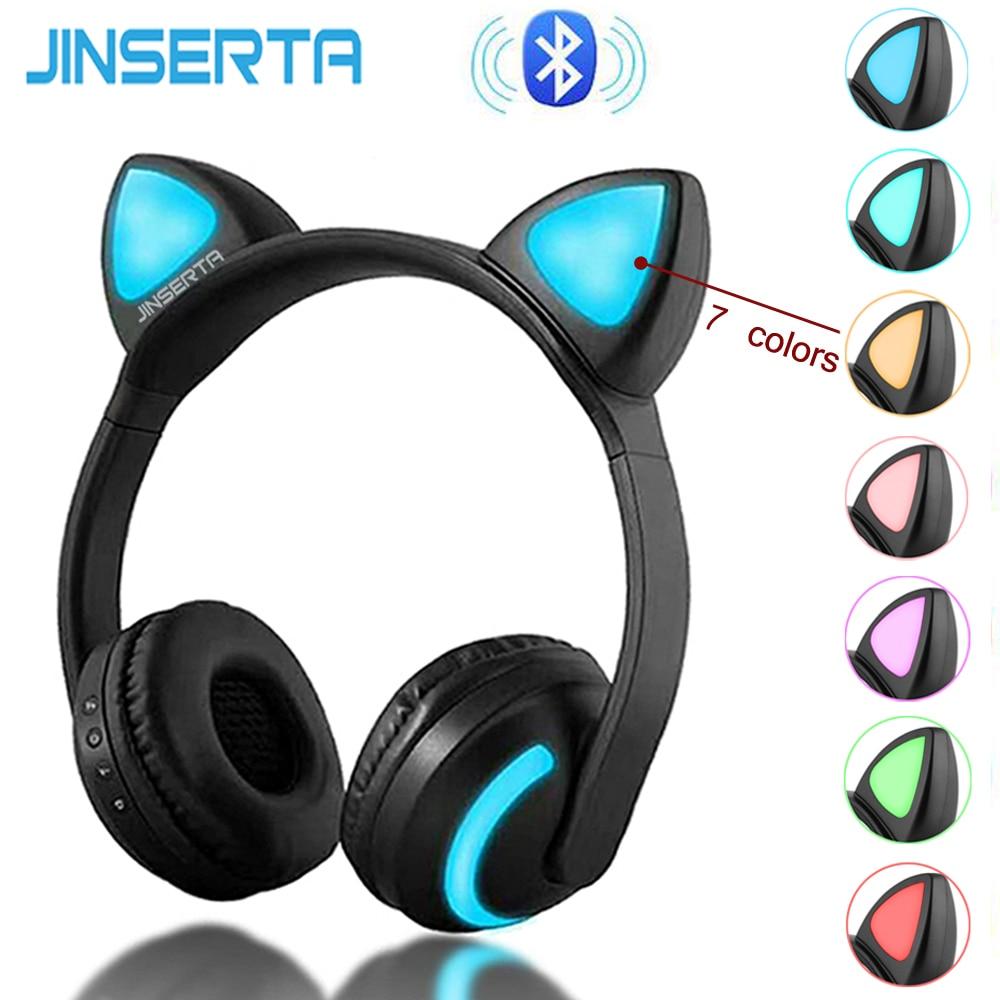 JINSERTA Sem Fio Bluetooth Fones De Ouvido Da Orelha de Gato Sete tipos presentes de luz LED Piscando Glowing Cosplay Fantasia Gato Fone de Ouvido