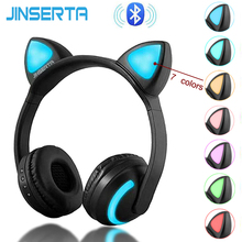 JINSERTA Wireless Bluetooth Cat Ear Headphones Seven kinds LED light Flashing Glowing Cosplay Fancy Cat Earphone gifts все цены