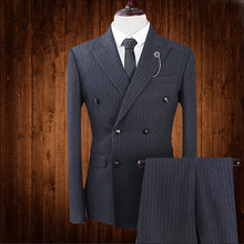 2017 New Brand Fashion Men Suits Blazer Black Stripes Double Breasted Slim Formal Male Tuxedo Prom Groom Wedding Business 3Piece