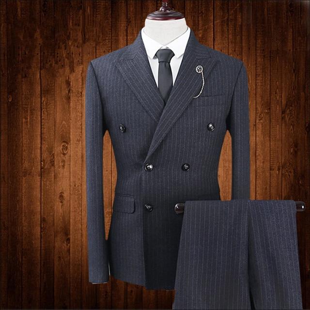 2018 nuevos hombres de negocios Blazer Slim Fit negro rayas cruzado Delgado  Formal masculino Tuxedo Prom a397d3eb9172