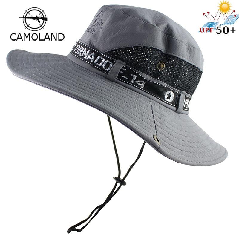45024641e US $5.88 36% OFF|UPF50+ Sun Hat Men Mesh Bucket Hat Women Summer Fishing  Hiking Cap Wide Brim UV Protection Flap Hat Breathable Beach Cap Outdoor-in  ...