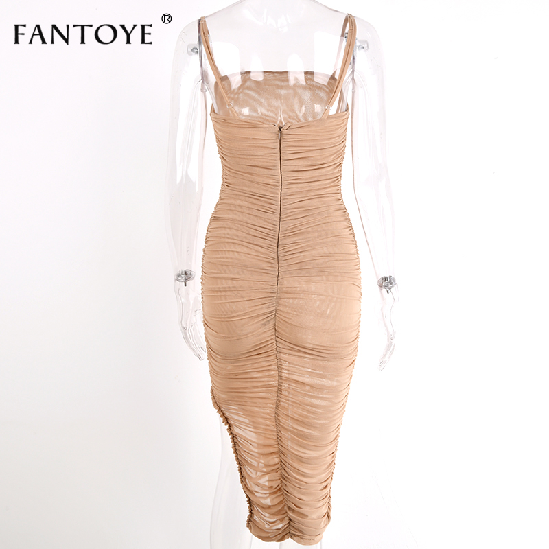 Fantoye Ruched Sheer Sexy Party Dress Women 18 Strapless Slit Long Maxi Dress Elgant Summer Autumn Bodycon Club Wear Vestidos 16