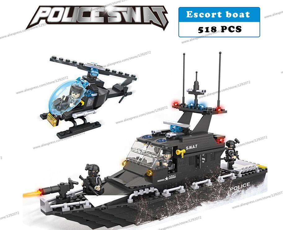 Police station SWAT Armored car jeep Military Series6511 3D Model building blocks compatible with lego city Boy Toy hobbies Gift