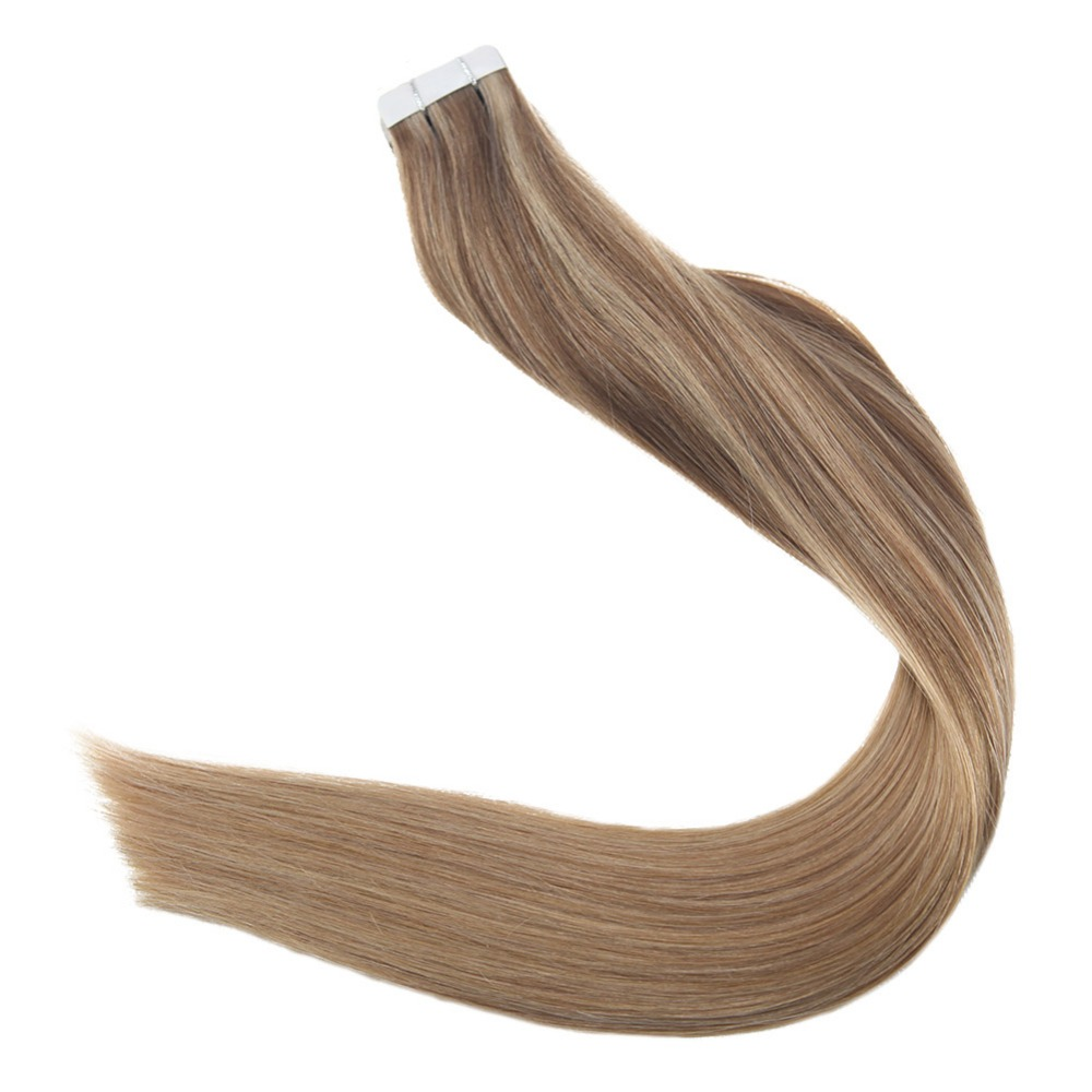 Full Shine Human Hair Tape in Extensions Balayage Color #10/16/18 50g 20 Pieces 100% Remy Hair Extensions Seamless Tape on Hair