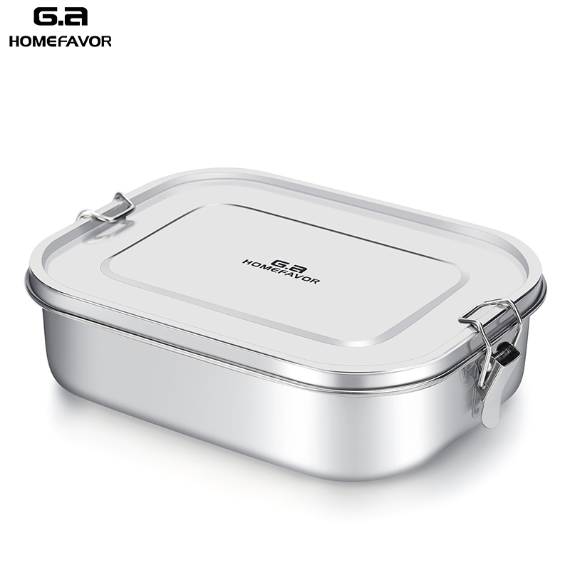 G.a HOMEFAVOR Custom Lunch Box For Kids Food Container Bento Box 304 Top Grade Stainless Steel Storage Thermal Metal Box Stock