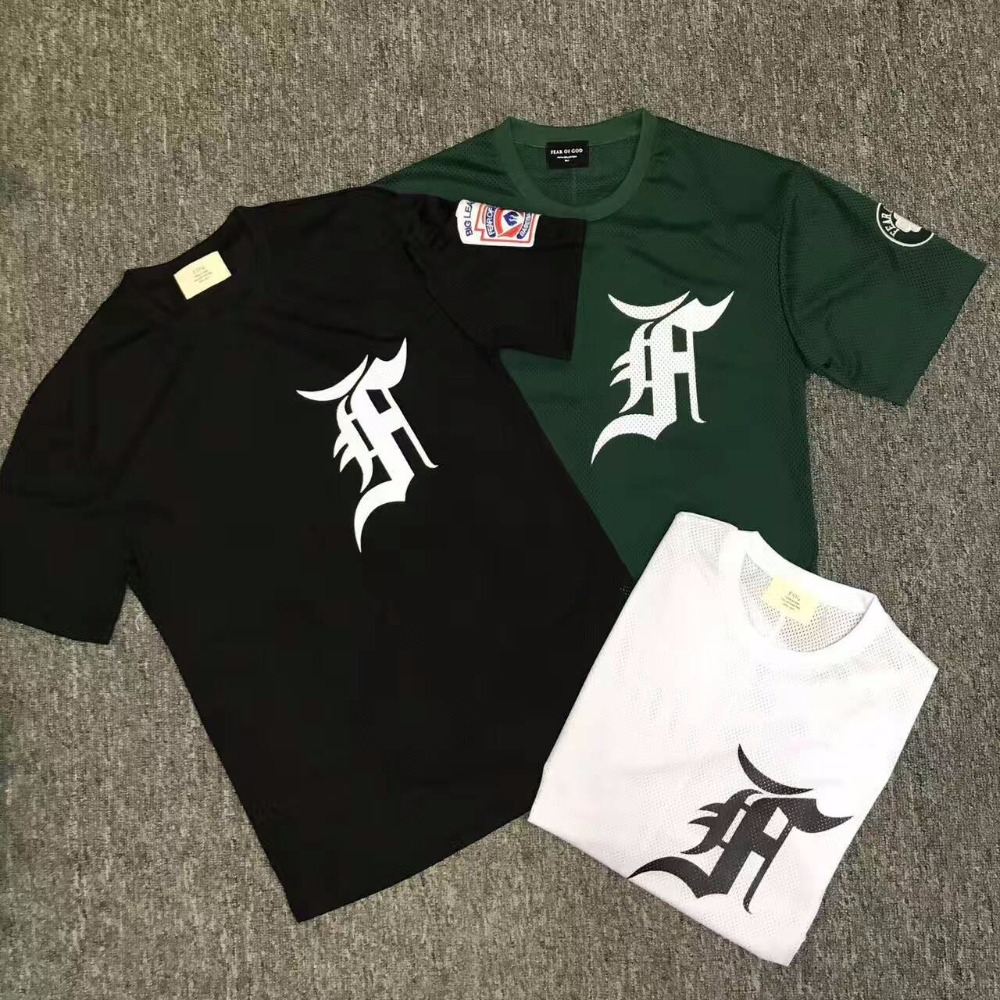 Basketball Tee Mesh Oversized Men t-Shirt Justin Bieber Letters 3color Embroidery Fog-Fifth-Collection