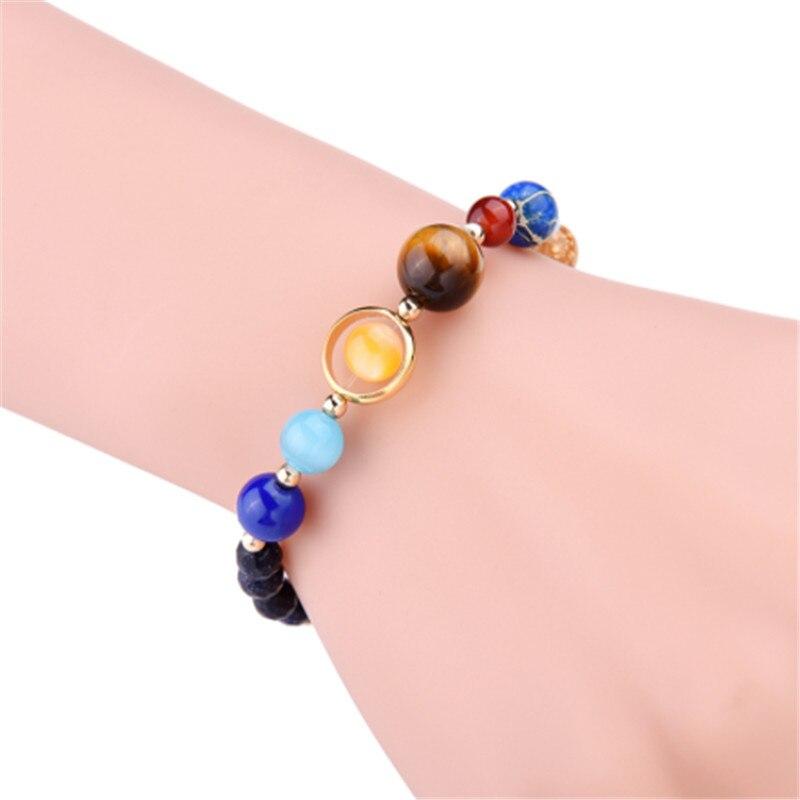 Bracelets Men Universe Galaxy Eight Planets Solar System Guardian Stars Stones Beads Adjustable Size Elastic Bangles For Women