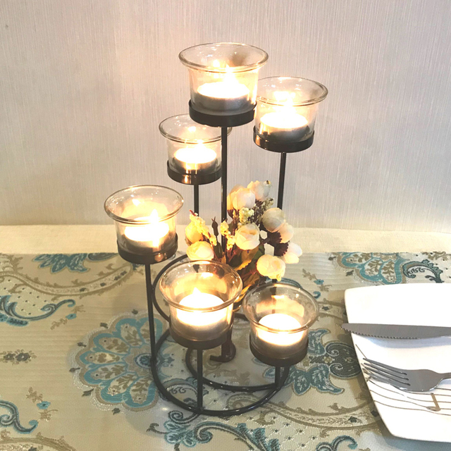 Candle Holder Table Metal Candlestick Geometric Retro Candle Holders Romantic for Wedding/Dinner Decoration Candelabra GZT086 4