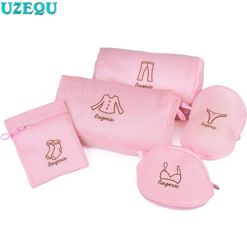 Mesh Pink Laundry Bag Bra Underwear Lingerie Socks Protection Bag Dirty Clothes Washing Machines Bags Bathroom Organizer