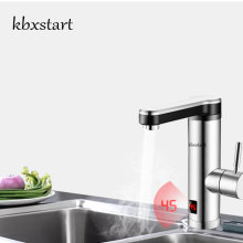 Купить с кэшбэком Kbxstart Tankless Water Heater 220V Stainless Steel Kitchen Banheiro Electric Tap Bathroom Water Faucet Fast Heating Torneira