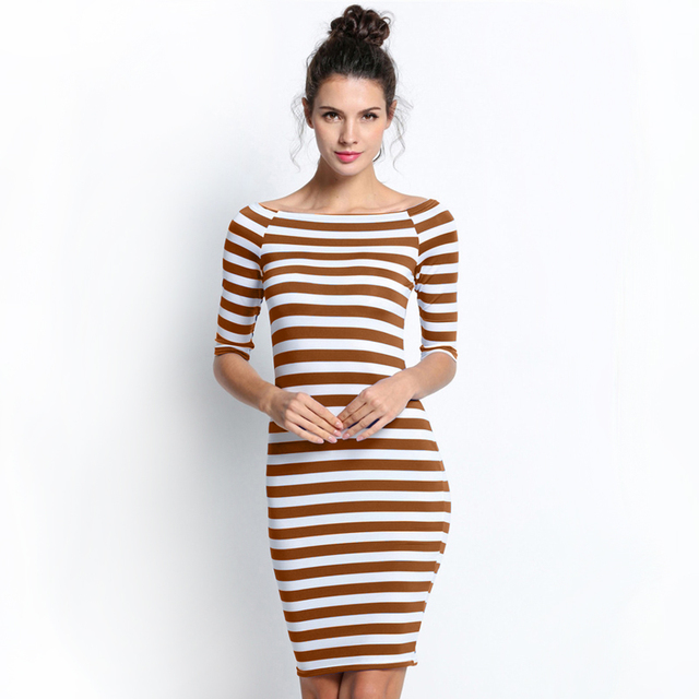 Off shoulder blue striped bodycon mini dress