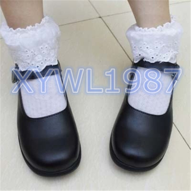 Image 3 - Cute Girls Lolita Maid Round Leather Shoes Japan School Uniform Shoes Boots Uwabaki Slippers Seikatsu Emilia Rem Ram Cosplay-in Shoes from Novelty & Special Use