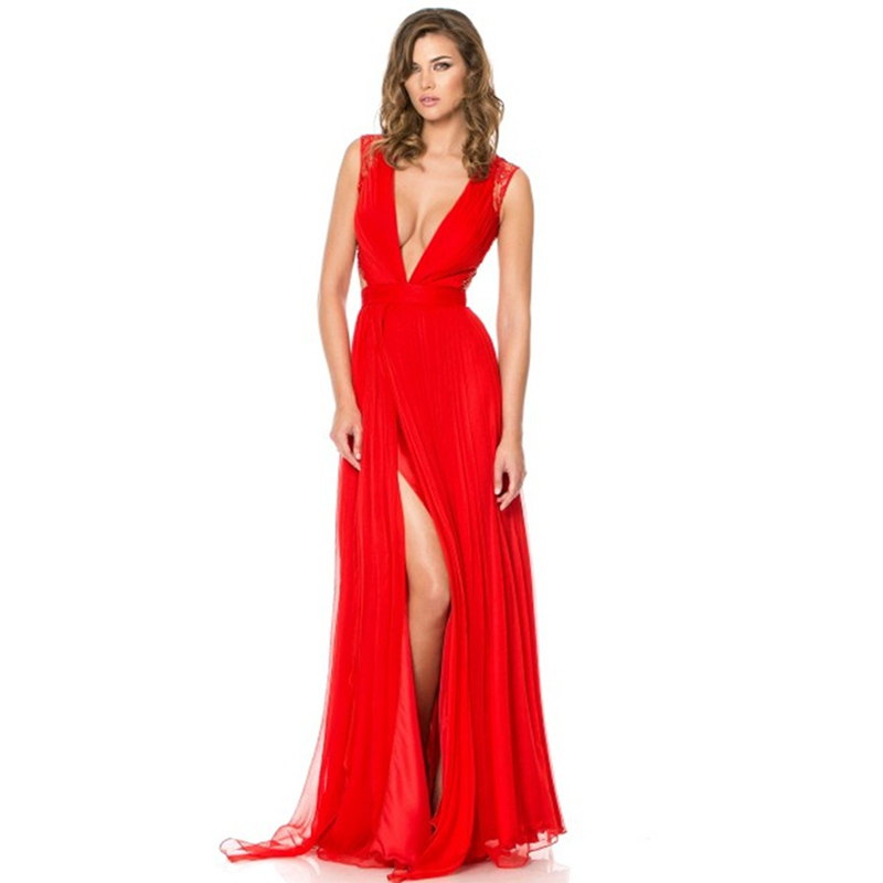 bbfcdbaec0f3 2015 Charming V Neck Long Red Evening Dress with High Slit Lace Back Women Long  Dress Evening Formal Dress Vestido De Festa on Aliexpress.com