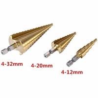 3Pcs Lot Professional HSS Steel Large Step Cone Hex Shank Coated Metal Drill Bit Cut Tool
