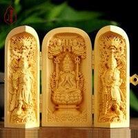 Ручная гравировка коробка работ резьба по дереву S части руки украшения нести три открыть окно резьба по дереву статуи Будды Гуаньинь Сэм мы