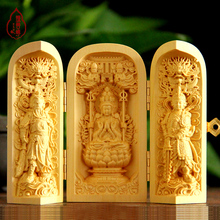 Hand engraving Artwork Boxwood carvings hand pieces ornaments carry three open box wood carving statues of Guanyin Buddha Sam We