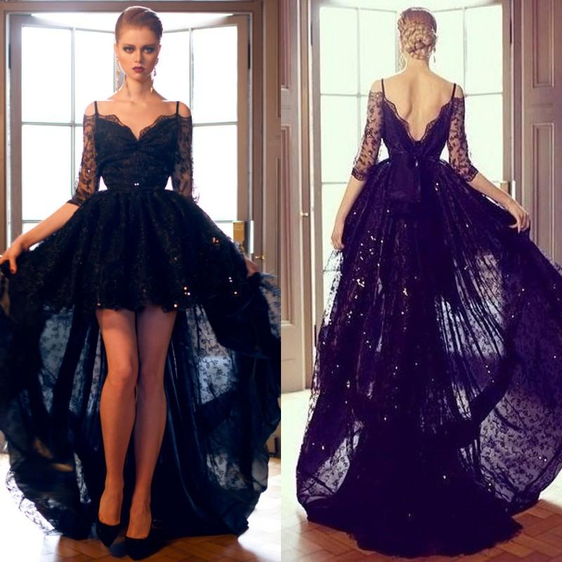 fd9c50058c Sexy Black Lace High Low Formal Evening Dresses Off Shoulder Backless Half  Sleeve Plus Size Prom Party Gowns Floor Length 2017-in Prom Dresses from  Weddings ...