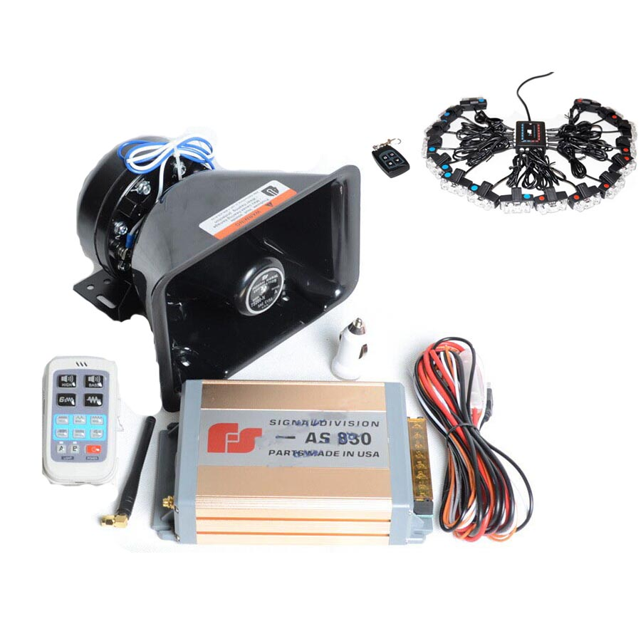 Automotive Police Siren 200W 12V Car Electrical Horn AS830 Gold Siren Plastic Speaker+16 in 1 Wireless Strobe Light Red&Blue