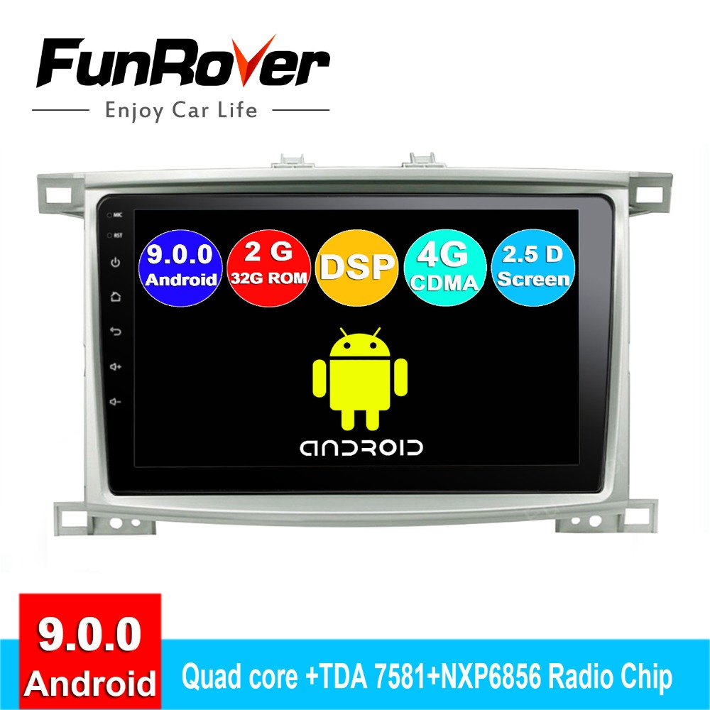 Funrover 2 din Android 9.0 rádio do carro Para Toyota Land cruiser LC 100 100 Lexus LX4 dvd sistema de navegação gps autoradio 2.5 D DSP
