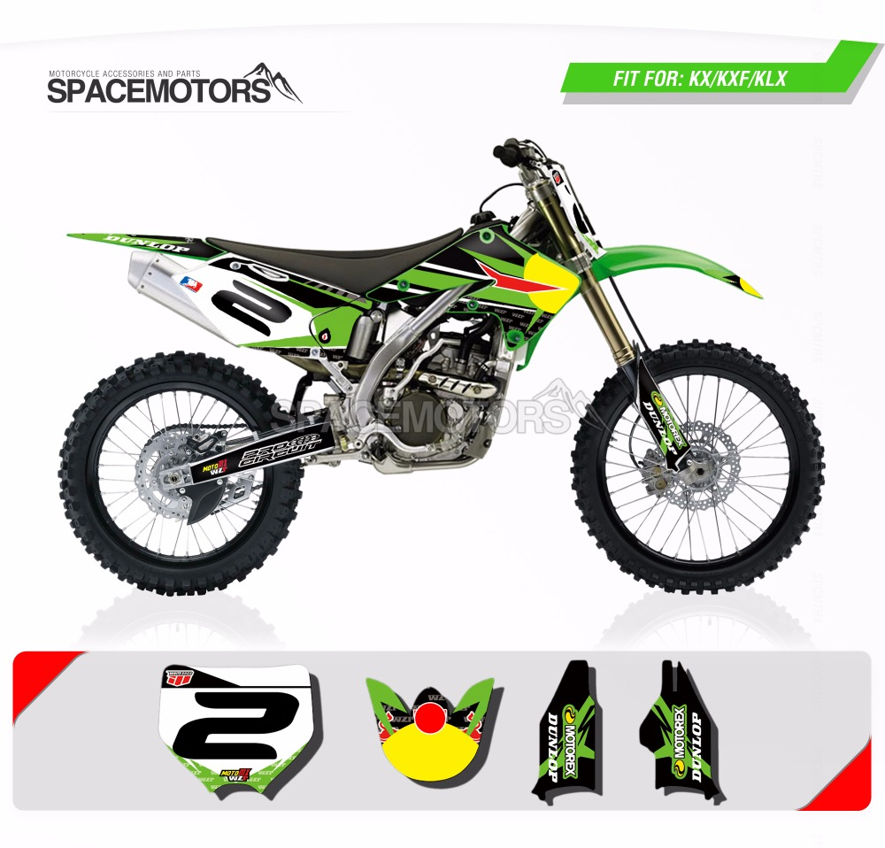 For Kawasaki KX 85 100 125 250 Decals Stickers Graphics Kit Bike Motorbike Motorcycle Body Styling Decorative Decal Sticker Set BLACK