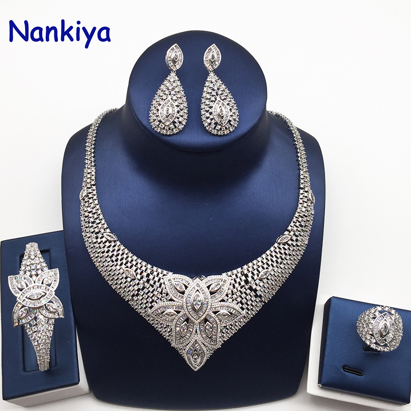 Nankiya Brilliant Cubic Zirconia Wedding Jewelry Set Flower Leaf Eye Shape Africa Luxury Bridal 4pcs Set Festival Dress NC755Nankiya Brilliant Cubic Zirconia Wedding Jewelry Set Flower Leaf Eye Shape Africa Luxury Bridal 4pcs Set Festival Dress NC755