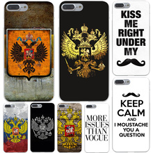 Russia Flag Emblem Hard Transparent Cover Case for iPhone 7 7 Plus 6 6S Plus 5 5S SE 5C 4 4S