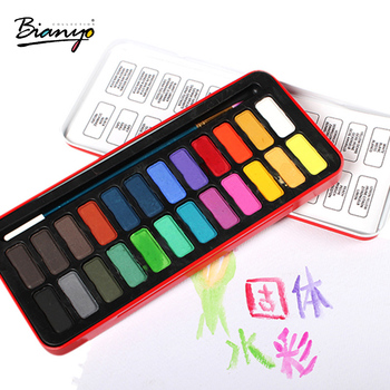 Bianyo 24 kolory Tin Box akwarela farby 1 pcs Brush Set dla studentów szkoły szkic malarstwo nietoksyczny akcesoria papiernicze