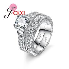 Elegance 925 Sterling Silver 2 PCS Ring Set Paved Full High Quality Shiny Crystals Anel For Women Bride Wedding Jewelry(China)