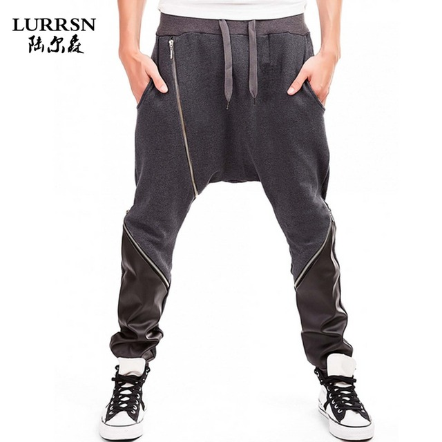 LURRSN 2017 New Fashion Casual Black Jeans Mens Joggers Loose Size XXL DIY Denim Pants Pockets Trousers Hip Hop Harem PU Leather