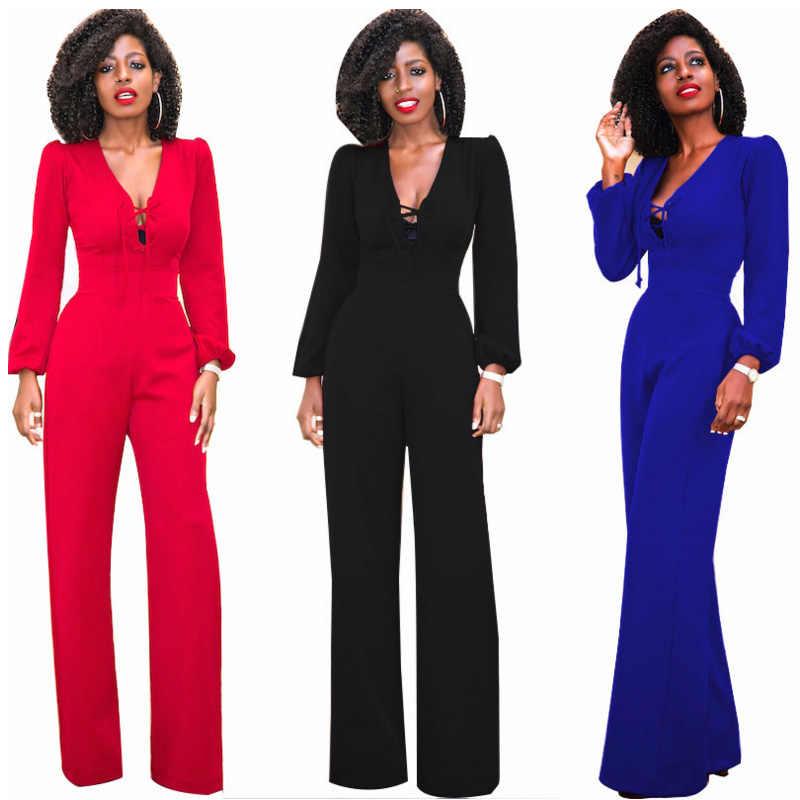 Blauw Zwart Rood Lange Mouw Vrouwen Kantoor Jumpsuit Wijde Pijpen Losse Sexy V-hals Elegante Tuniek Mode Palazzo Broek Vrouwelijke Speelpakjes