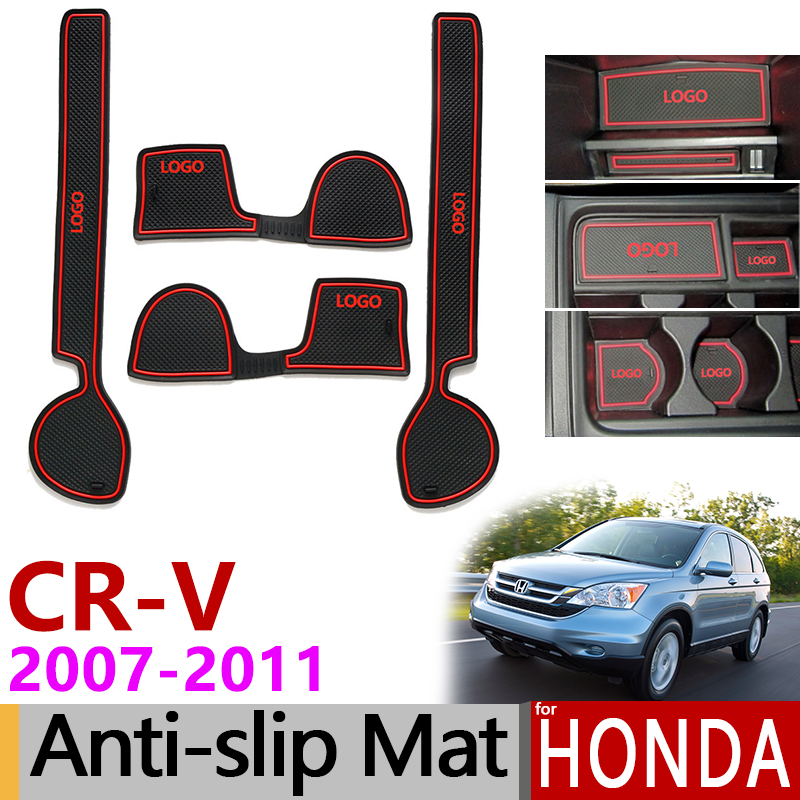 Anti-Slip Gate Slot Mat Rubber Coaster for <font><b>Honda</b></font> <font><b>CR</b></font>-<font><b>V</b></font> CRV <font><b>2007</b></font> <font><b>2008</b></font> <font><b>2009</b></font> <font><b>2010</b></font> 2011 3rd Gen <font><b>CR</b></font> <font><b>V</b></font> Accessories Car Stickers 2.0 2.4 image